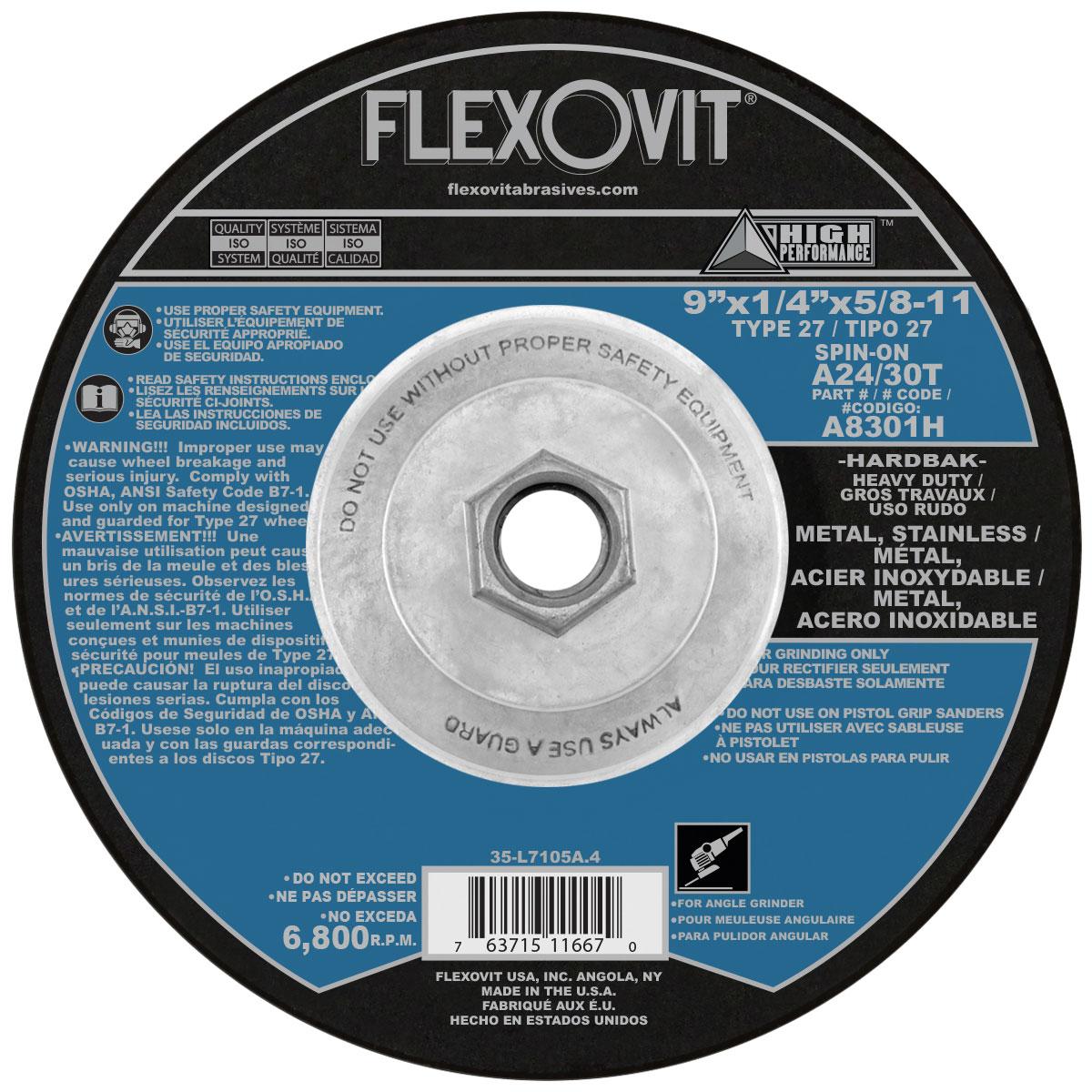 """FLEXOVIT 4-1//2/""""X1//8/""""X7//8/"""" A24//30T TYPE 27 GRIND//NOTCH WHEEL #A0722 5PCS LOT"""
